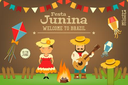 Festa Junina - Brazil June Carnival. Card Folklore Holiday. Vector Illustration.