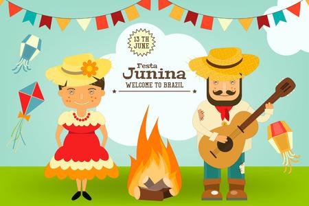 Festa Junina - Brésil Festival de juin. Card Folklore Holiday. Illustration vectorielle.