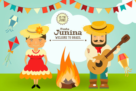 Festa Junina - Brasil Festival de junio. Tarjeta de Folclore de vacaciones. Ilustración del vector.