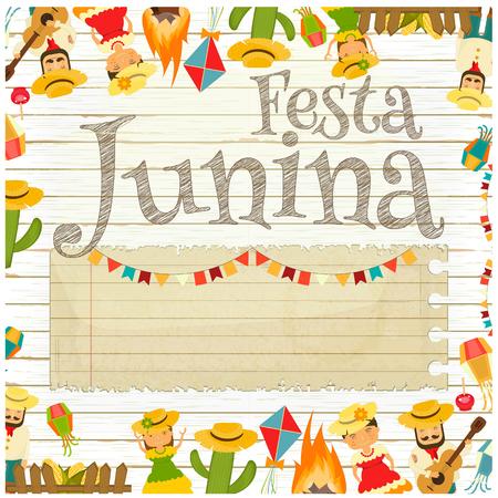 Festa Junina - Brazil June Festival. Retro Poster of Folklore Holiday. White Wooden Background. Vector Illustration. Illustration
