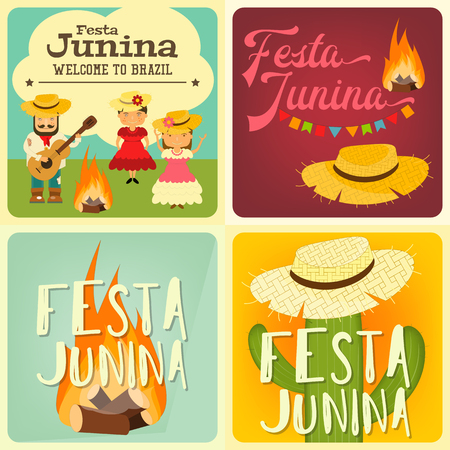 colorful straw: Festa Junina - Brazil June Festival. Collection of Posters Folklore Holiday. Vector Illustration. Illustration