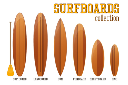 Surfboards Collection Isolated on White Background. Vector Illustration.