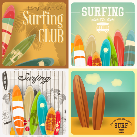 water wave: Surfing Square Posters Set in Vintage Style for Surf Club or Shop. Vector Illustration.