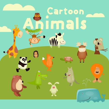 cute bear: Cartoon Animals Set. African, Forest and Ocean Wild Animals. Vector Illustration.