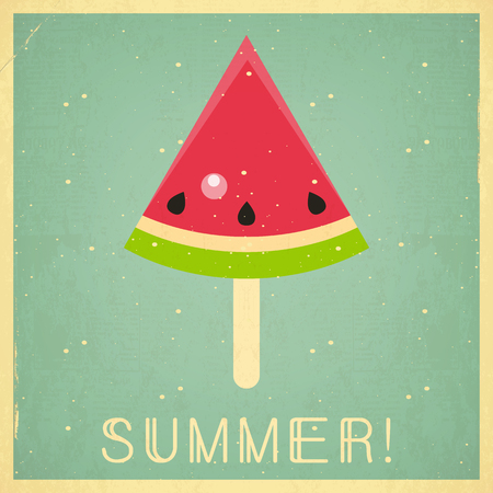 happy: Summer Time Retro Square Poster - Slice of Watermelon Ice Cream on Blue  Background. Vector Illustration.
