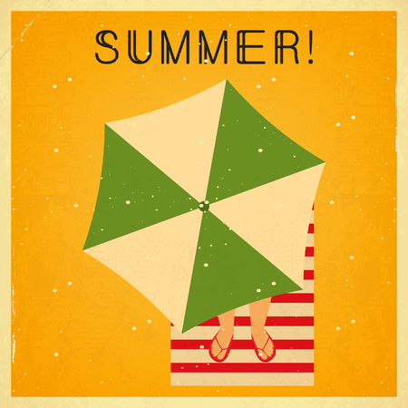 happy holidays: Summer Time Retro Square Poster - Beach Umbrella on Sandy Yellow Background. Vector Illustration. Illustration