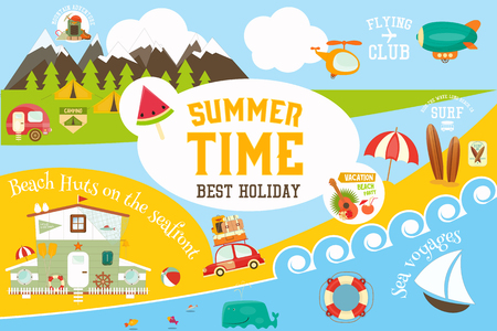 Summer Vacation Card -  Beach Huts on Seafront, Mountain Travel, Flying, Surfing and Sea Voyages Infographic Concept. Vector Illustration.