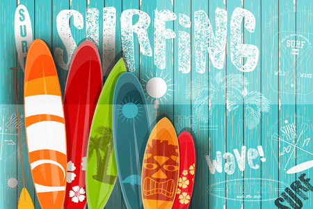 Surfing Poster in Vintage Style for Surf Club or Shop. Surfboards with Different Designs and Sizes on Blue Wooden Background. Vector Illustration. Vettoriali