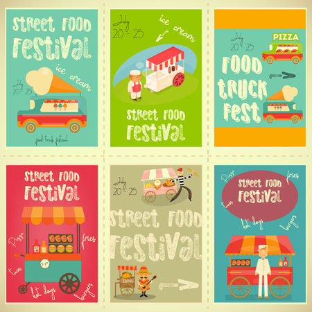 Street Food and Fast Food, Truck Festival on Posters Set. Template Design. Vector Illustration. Illustration