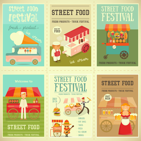 Street Food and Fast Food, Truck Festival on Mini Posters Set. Template Design. Vector Illustration.