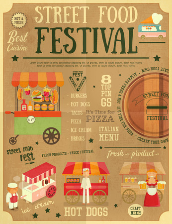 Street Food and Fast Food, Truck Festival on Vintage Retro Poster. Template Design. Vector Illustration. Illustration