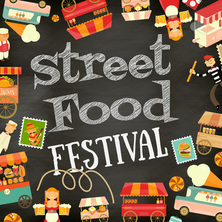 Street Food and Fast Food, Truck Festival on Vintage Retro Poster. Blackboard with Chalk Text Background. Template Design. Vector Illustration.