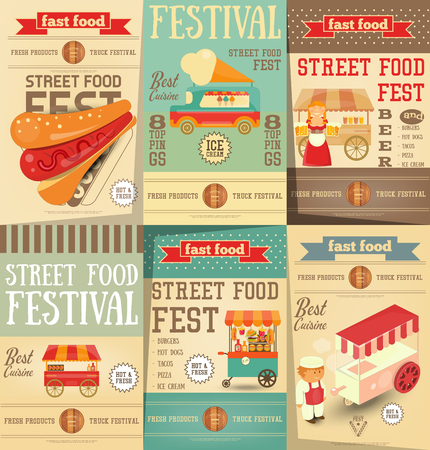 business people: Street Food and Fast Food, Truck Festival on Posters Set. Template Design. Advertising Ice cream, Beer and Hot dogs. Vector Illustration.