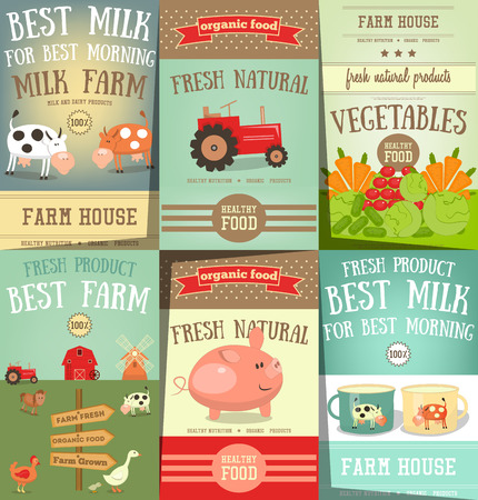 Farm Food and Agriculture Retro Posters Set. Healthy Organic Products. Milk Dairy Farm. Vector Illustration.