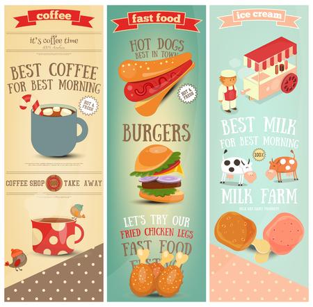 junk: Coffee, Fast Food, Ice Cream Vertical Banners Set. Vector Illustration. Illustration