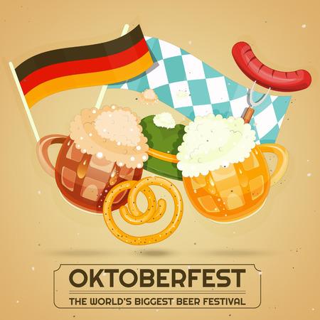 Oktoberfest Beer Festival - Beer Mugs with Foam, Sausage, Pretzel on Retro Background. Vector Illustration.