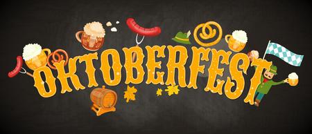 pretzel: Oktoberfest beer festival emblem on chalkboard background vector illustration.