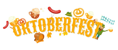 Oktoberfest beer festival emblem on white background vector illustration.
