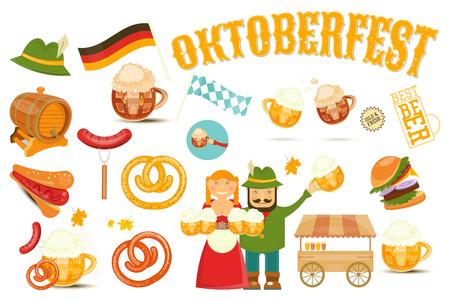 german sausage: Oktoberfest Beer Festival Design Elements - Beer Mugs with Foam, Sausage, Pretzel on White Background. Vector Illustration.
