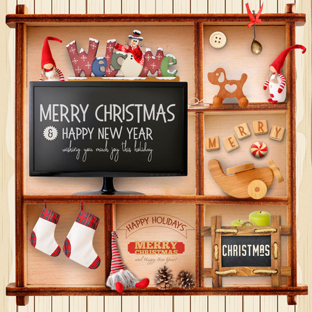 gnomos: Christmas Greeting Card with Xmas Elements in Wooden Vintage Cupboard. Christmas Background. Retro Style. Square format.
