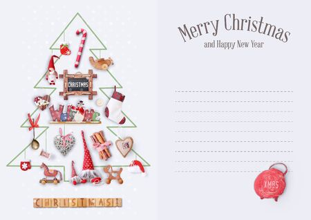 gnomos: Merry Christmas Greeting Card - Drawn Christmas Tree with Gifts and Xmas Toys on White Background. Place for Text.