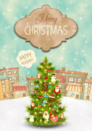 Merry Christmas Greeting Card - Beautifully Decorated Christmas Tree in the Winter Small Town. Vector Illustration. Illustration