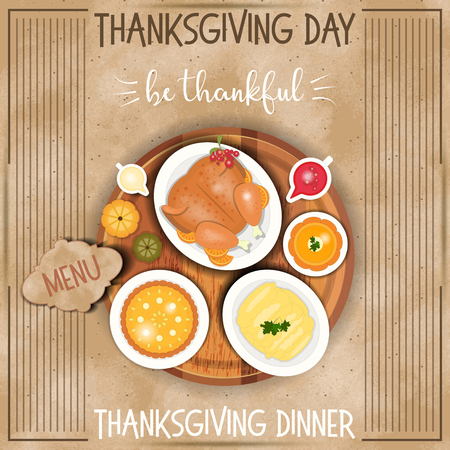Roast Turkey Thanksgiving Day and Traditional Dishes - Cranberry Sauce, Pumpkin Pie, Pumpkin Soup and Mash Potatoes. Top view on Kraft Paper. Thanks Giving Card in Retro Style. Vector Illustration. Illustration