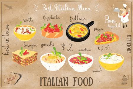 Italian food menu concept.