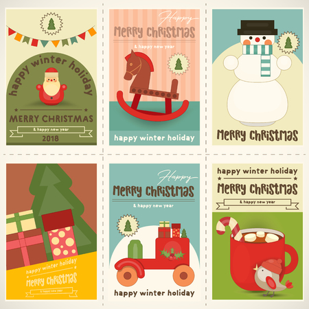 Merry Christmas Retro Posters Set - Santa Claus and Other Xmas Characters in Winter Holidays Set. Vector Illustration.