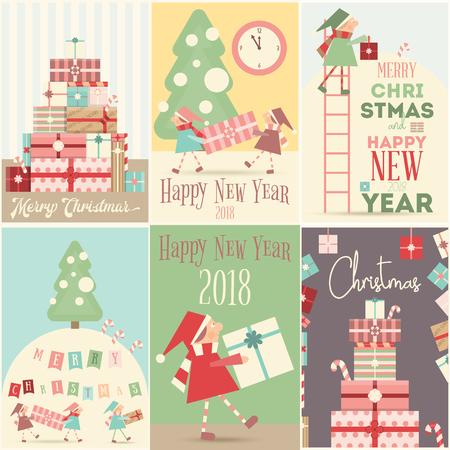 Merry Christmas Retro Posters Set.