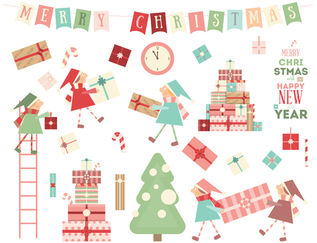 Merry Christmas Greeting Set - Christmas Gnomes Bringing Gifts and other Noel Objects. Isolated on White Background. Vector Illustration.