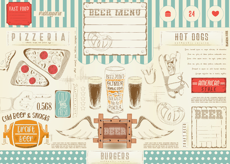 Beer and fast food. Pizza and hot dog. Drawn menu design. Craft beer placement for restaurant, bar, pub and cafe. Drink menu. Vector illustration.
