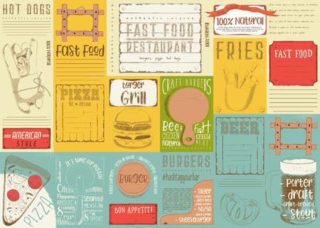 Fast Food - Pizza, Hot Dog, Burgers -  Drawn Menu Design. Placemat for Restaurant, Bar, Pub and Cafe. Vector Illustration. Illustration
