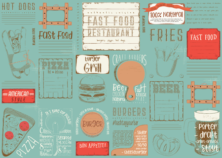 Fast Food - Pizza, Hot Dog, Burgers -  Drawn Menu Design with Place for Text. Placemat for Restaurant, Bar, Pub and Cafe. Vector Illustration.
