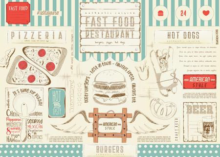 Bier en fast food. Pizza en hotdog. Getrokken menu-ontwerp. Ambachtelijke bierplaatsing voor restaurant, bar, pub en café. Drinken menu. Vector illustratie Stockfoto - 94975834