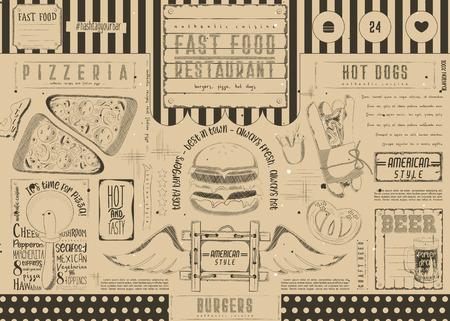 Bier en fast food. Pizza en hotdog. Getrokken menu-ontwerp. Ambachtelijke bierplaatsing voor restaurant, bar, pub en café. Drinken menu. Vector illustratie