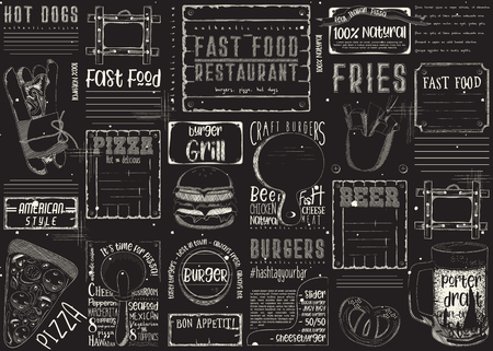 Fast food like pizza, hot dog, burgers. Chalk drawn menu design with place for text on blackboard. Placement for restaurant, bar, pub and cafe. Vector illustration.