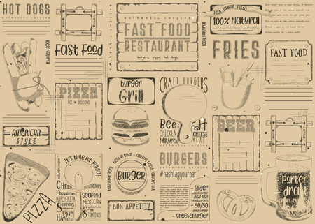 Fast Food - Pizza, Hot Dog, Burgers -  Drawn Menu Design with Place for Text. Placemat for Pizzeria, Bar, Pub and Cafe. Vintage Craft Paper Design. Vector Illustration.