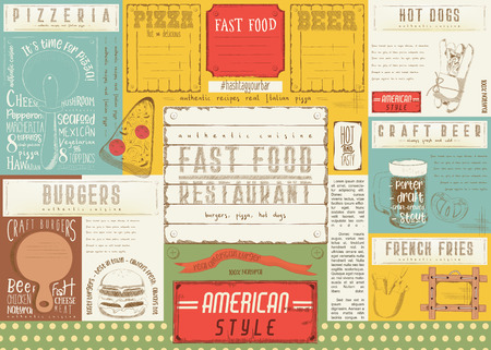 Fast Food Restaurant Placemat - Paper Napkin for Pizzeria, Burger House, Bar, Food Truck or Pub. Vector Illustration.
