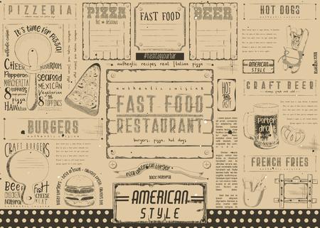 Fast food restaurant placement. Paper Napkin for pizzeria, burger house, bar, food truck or pub. Craft paper design. Vector illustration.
