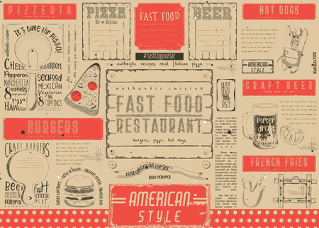 Fast Food Restaurant Placemat - Paper Napkin for Pizzeria, Burger House, Bar, Food Truck or Pub. Craft Paper Retro Design. Vector Illustration. Çizim