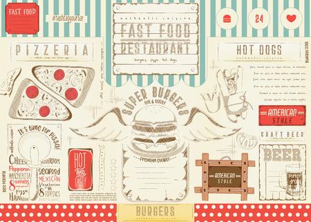 Fast food drawn menu design. Burger placement for restaurant and cafe. Pizza, burger and beer menu. Vector illustration. Stock Illustratie
