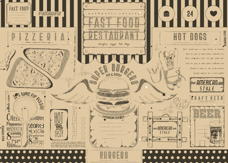 Fast food such as pizza, hot dog, burgers. Drawn menu design with place for text. Placement for pizzeria, burger house, pub and cafe. Retro craft paper design. Vector illustration.