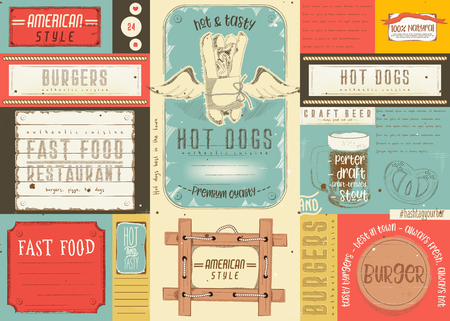 Fast food restaurant placement. Paper napkin for pizzeria, burger house, bar, food truck or pub in retro style. Vector illustration.