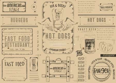 Fast Food Restaurant Placemat - Paper Napkin for Pizzeria, Burger House, Bar, Food Truck or Pub in Retro Style. Vintage Craft Paper Design.  Vector Illustration. Çizim