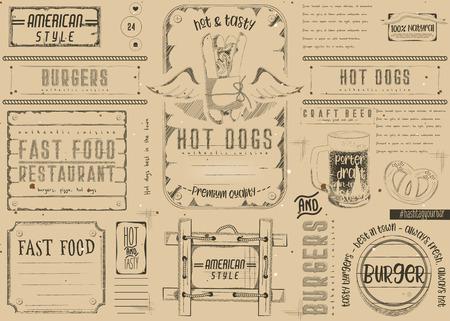 Fast Food Restaurant Placemat - Paper Napkin for Pizzeria, Burger House, Bar, Food Truck or Pub in Retro Style. Vintage Craft Paper Design.  Vector Illustration. Illustration