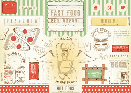 Fast Food Restaurant Placemat - Paper Napkin for Pizzeria, Burger House, Hot Dogs Bar, Food Truck or Pub in Retro Style. Vector Illustration. Çizim