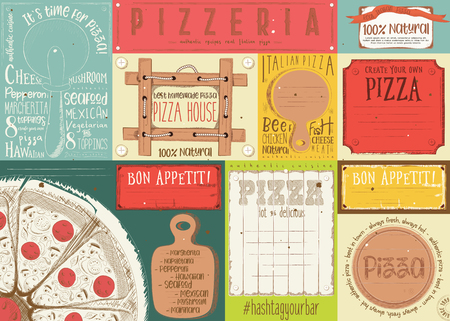 Pizzeria placement. Paper napkin for pizza house with place for text in retro style. Vector illustration.