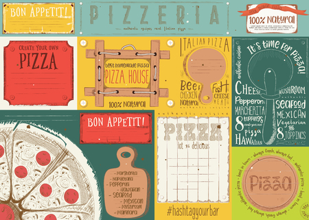 Pizzeria placement. Paper napkin for pizza house with place for text in retro style. Italian menu. Vector illustration. Çizim