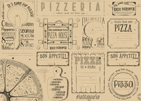 Pizzeria placement. Paper napkin for pizza house with place for text in retro style. Italian menu. Retro craft paper design. Vector illustration. Çizim
